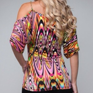 Fuchsia Swirls Chain Strap Blouse2